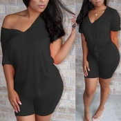 Lovely Casual V Neck Basic Black Two-piece Shorts Set