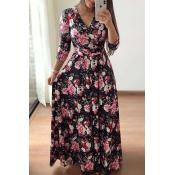 Lovely Trendy Floral Print Black Maxi Dress