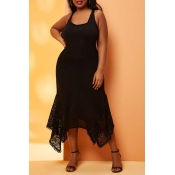 Lovely Asymmetrical Black Plus Size Cover-Up