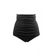 Lovely Fold Design Black Bikini Bottom