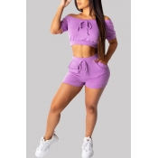 Lovely Casual Lace-up Purple Two-piece Shorts Set