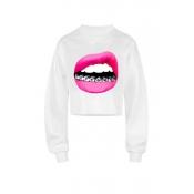 Lovely Casual Lip Print White Sweatshirt Hoodie