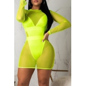 Lovely Patchwork Hollow-out Green One-piece Swimsuit(With Cover-up)