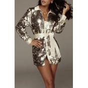Lovely Trendy Sequined Silver Mini Dress