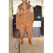 Lovely Leisure Patchwork Brown One-piece Jumpsuit