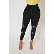 Lovely Trendy Hot Drilling Decorative Black Pants