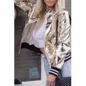 Lovely Trendy Zipper Design Gold Jacket