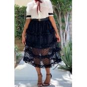 Lovely Sweet See-through Black Skirt