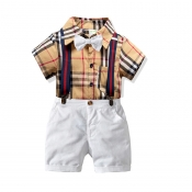Lovely Casual Grid Print Apricot Boy Two-piece Sho