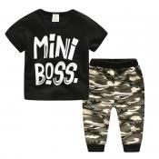Lovely Trendy Print Black Boy Two-piece Pants Set
