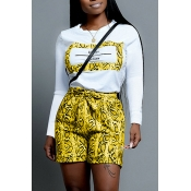 Lovely Casual Snakeskin Print Yellow Two-piece Sho