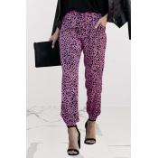 Lovely Trendy Leopard Print Purple Pants