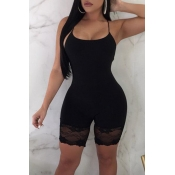 Lovely Sexy Patchwork Black One-piece Romper
