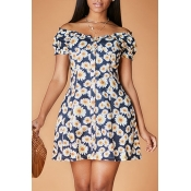 Lovely Chic Floral Print Black Knee Length Dress