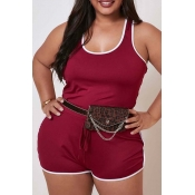 Lovely Sportswear Basic Red Plus Size One-piece Ro