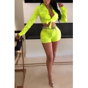 Lovely Casual Buttons Design Green Two-piece Short