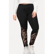 Lovely Trendy Patchwork Black Plus Size Pants