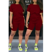 Lovely Leisure Basic Wine Red Two-piece Shorts Set