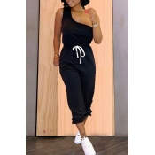 Lovely Casual One Shoulder Lace-up Black Two-piece