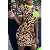 Lovely Trendy Leopard Print Green Knee Length T-sh