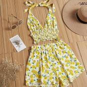 Lovely Bohemian Floral Print Yellow Two-piece Shor