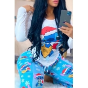 Lovely Casual O Neck Cartoon Print Baby Blue Two-p