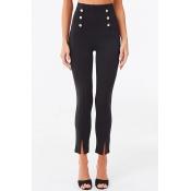Lovely Trendy Buttons Design Black Pants