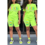 Lovely Leisure Letter Print Green Two-piece Shorts Set