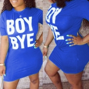 Lovely Leisure Letter Print Blue Mini T-shirt Dress