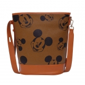 Lovely Stylish Cartoon Print Brown Messenger Bag