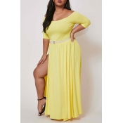 Lovely Stylish Side High Slit Yellow Ankle Length
