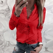 Lovely Trendy Letter Print Red Blouse