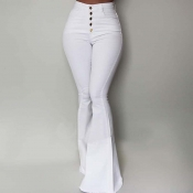 Lovely Trendy Buttons Design White Pants