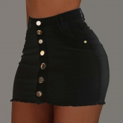 Lovely Casual Buttons Design Black Skirt