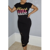 Lovely Casual O Neck Letter Print Black Mid Calf T