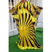 Lovely Trendy Print Yellow Maxi Plus Size Dress