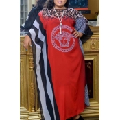Lovely Casual Print Red Ankle Length Plus Size Dre