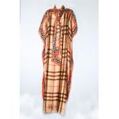 Lovely Trendy Print Orange Maxi Plus Size Dress