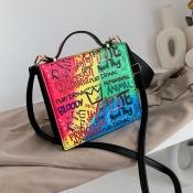 Lovely Casual Letter Print Multicolor Messenger Bag