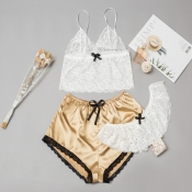 Lovely Sexy Lace Hem Gold Sleepwear