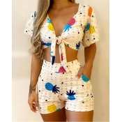 Lovely Trendy Print White Two-piece Shorts Set