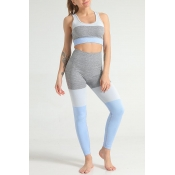 Lovely Sportswear Color-lump Patchwork Blue Two-pi