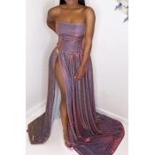 Lovely Luxury Dew Shoulder Side High Slit Purple T