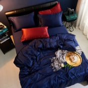 Lovely Leisure Basic Deep Blue Bedding Set