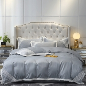 Lovely Sweet Lace Hem Silver Bedding Set