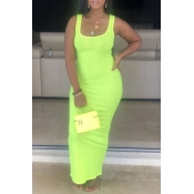 Lovely Casual Basic Skinny Green Ankle Length Dres