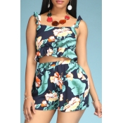 Lovely Bohemian Plants Print Navy Blue Two-piece S
