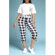Lovely Sweet Grid Print White Two-piece Pants Set