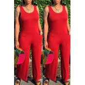 Lovely Casual Pocket Patched Red One-piece Jumpsuit