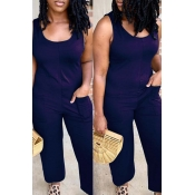 Lovely Casual Pocket Patched Blue One-piece Jumpsuit